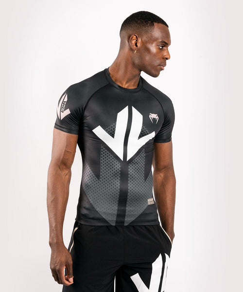 Venum Arrow Loma Signature Collection Short Sleeve Rashguard - Black/White picture 1