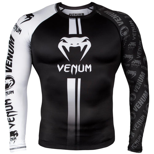 Venum Logos Rashguard Long Sleeves - Black/White picture 1