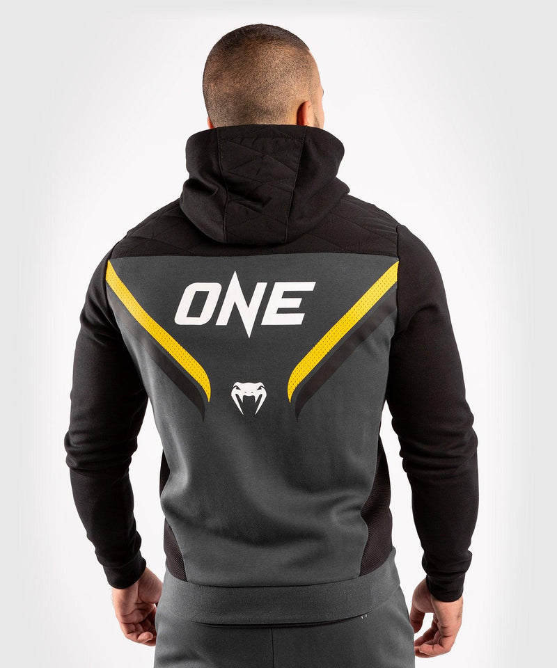 Venum ONE FC Impact Hoodie - Grey/Yellow - picture 2