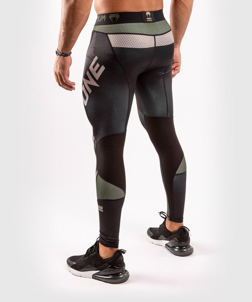 Venum ONE FC Impact Compresssion Tights - Black/Khaki - picture 2
