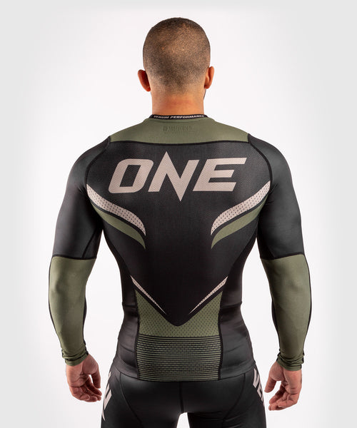 Venum ONE FC Impact Rashguard - long sleeves - Black/Khaki - picture 2