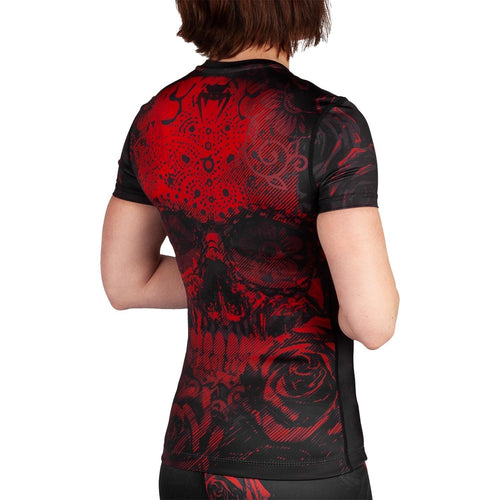 Venum Santa Muerte 3.0 Rashguard - Short Sleeves - For Women – Black/Red picture 3