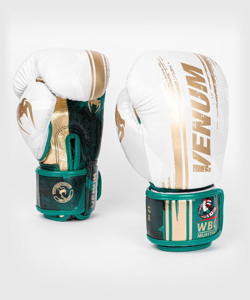 Venum WBC Muay Thai Boxing Gloves - White/Green - Picture 2