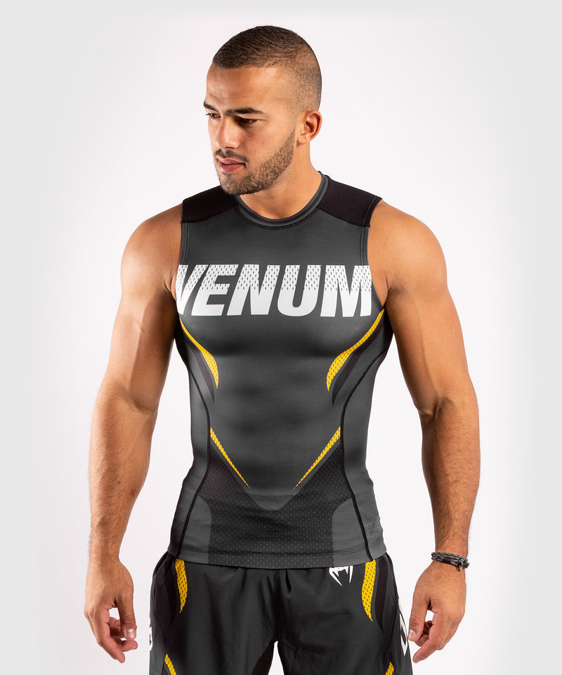Venum ONE FC Impact Rashguard - sleeveless - Grey/Yellow - picture 1