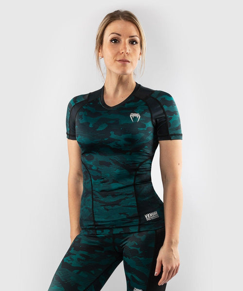 Venum Defender Rashguard - Short Sleeves - Black/Green picture 1