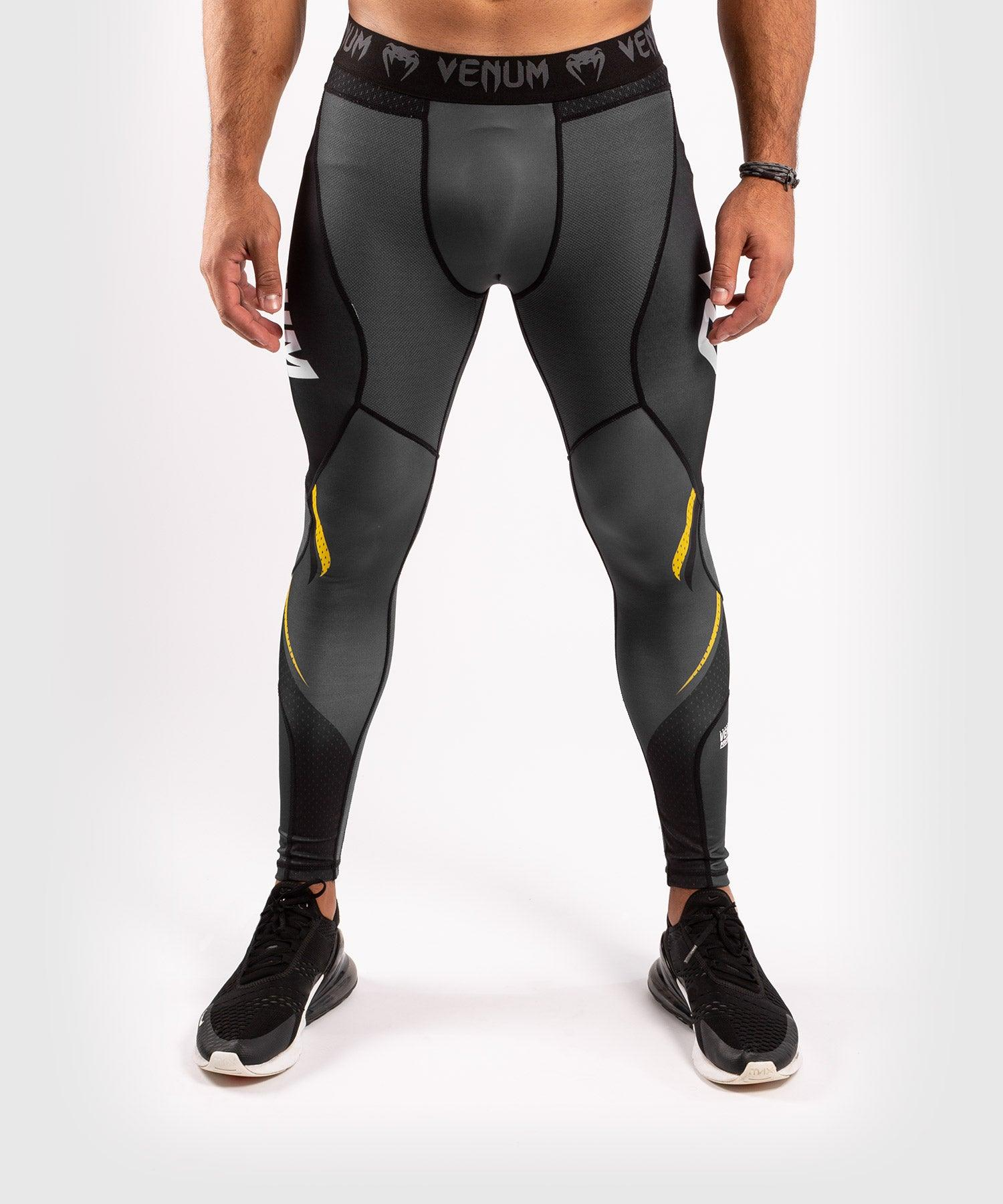 Venum ONE FC Impact Compresssion Tights - Grey/Yellow - picture 3