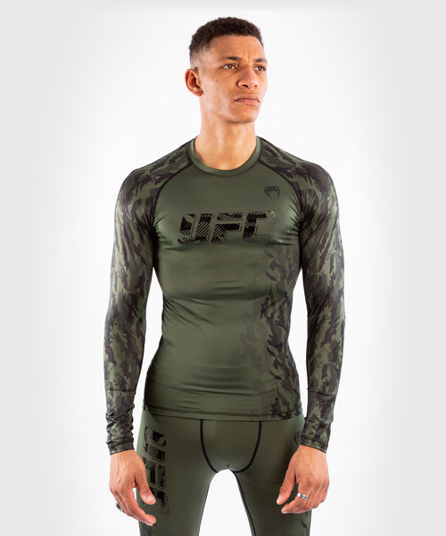 UFC Venum Authentic Fight Week Men's Performance Long Sleeve Rashguard – Khaki Picture 1