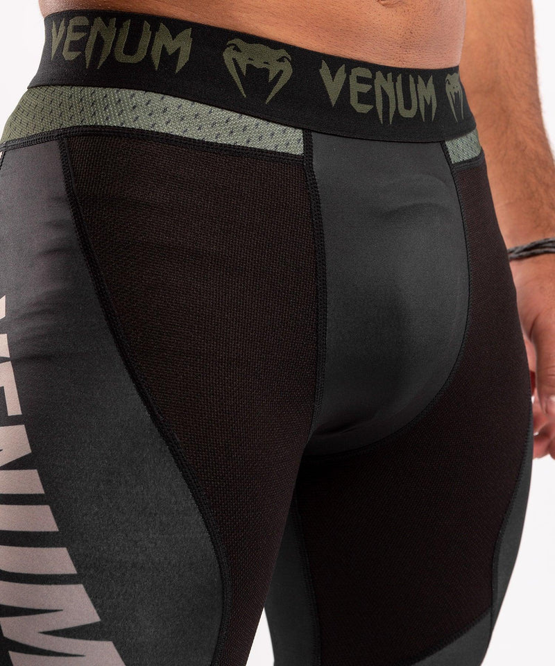 Venum ONE FC Impact Compresssion Tights - Black/Khaki - picture 5