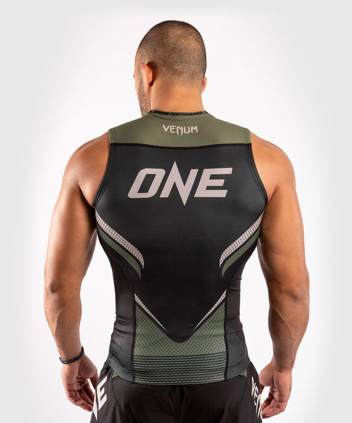 Venum ONE FC Impact Rashguard - sleeveless - Black/Khaki - picture 2