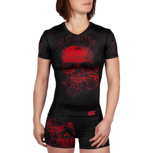 Venum Santa Muerte 3.0 Rashguard - Short Sleeves - For Women – Black/Red picture 1