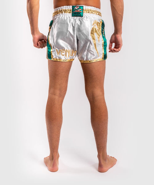 Venum WBC Muay Thai Shorts - White/Green - Picture 2