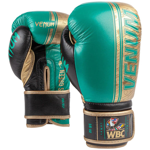 Venum Shield Pro Boxing Gloves WBC Limited Edition - Velcro - Green Metallic/Gold picture 1