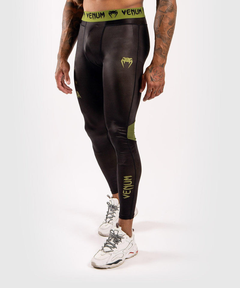 Venum Boxing Lab Compression Tights - Black/Green picture 1