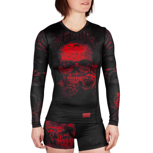 Venum Santa Muerte 3.0 Rashguard - Long Sleeves - For Women – Black/Red picture 1