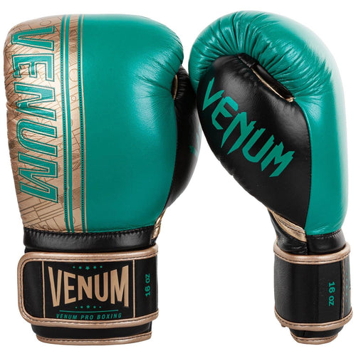 Venum Shield Pro Boxing Gloves WBC Limited Edition - Velcro - Green Metallic/Gold picture 2