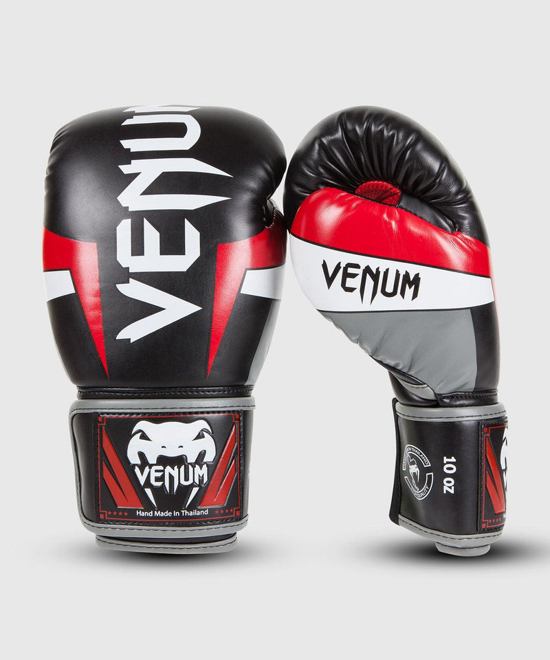 Venum Elite Boxing Gloves - Black/Red/Grey picture 1