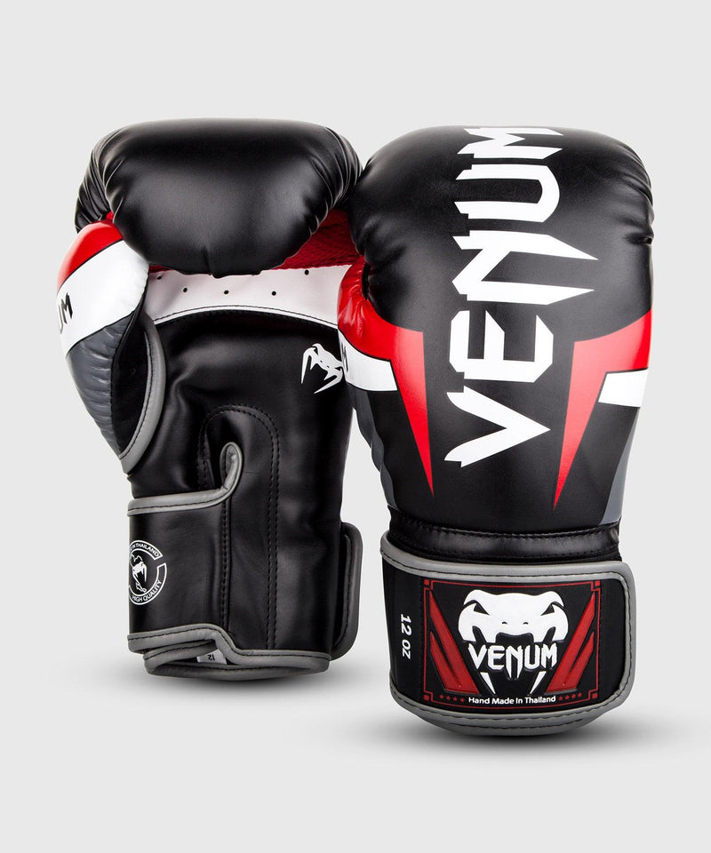 Venum Elite Boxing Gloves - Black/Red/Grey picture 2