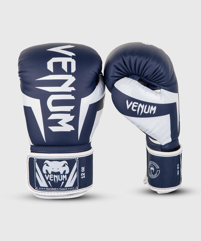 Venum Elite Boxing Gloves - White/Navy Blue picture 1