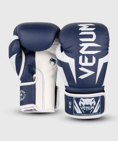 Venum Elite Boxing Gloves - White/Navy Blue picture 2