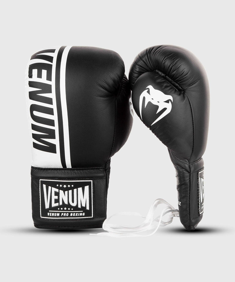 Venum Shield Pro Boxing Gloves - With Laces - Black/White picture 2