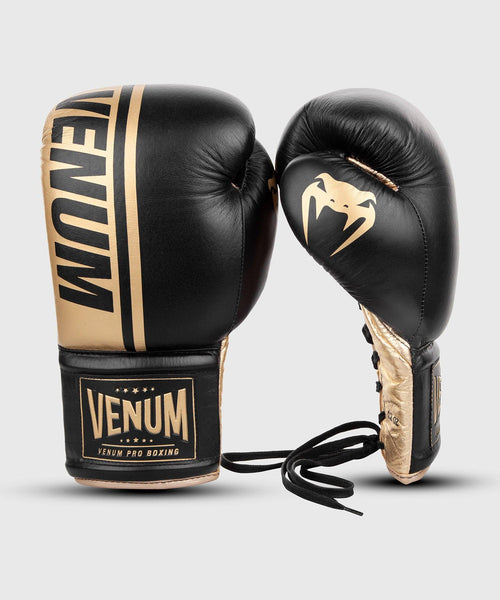 Venum Shield Pro Boxing Gloves - With Laces - Black/Gold picture 2