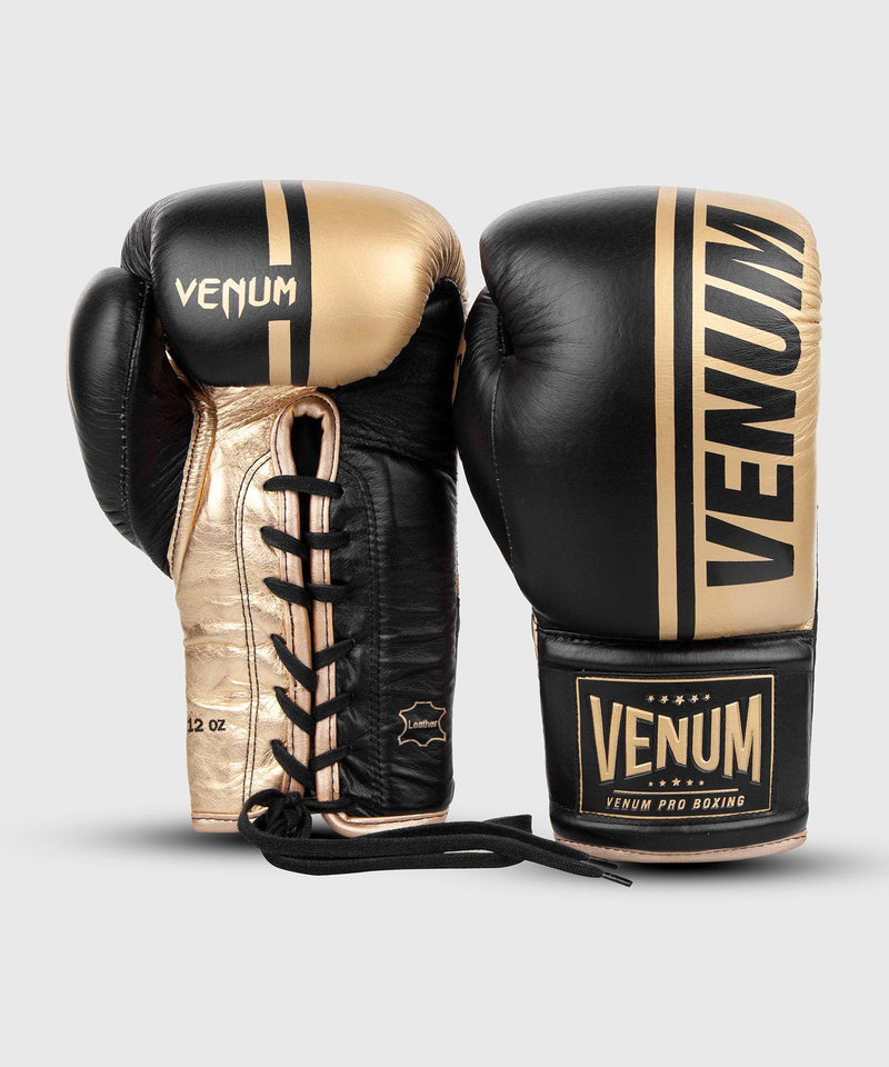 Venum Shield Pro Boxing Gloves - With Laces - Black/Gold picture 3