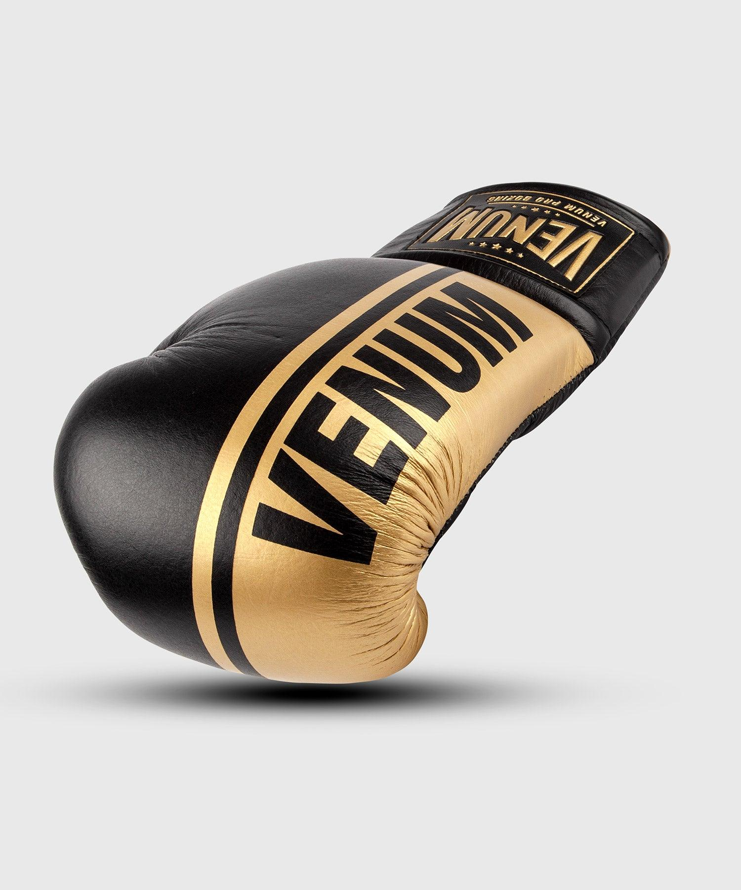 Venum Shield Pro Boxing Gloves - With Laces - Black/Gold picture 1