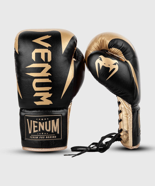 Venum Hammer Pro Boxing Gloves - With Laces - Black/Gold picture 2
