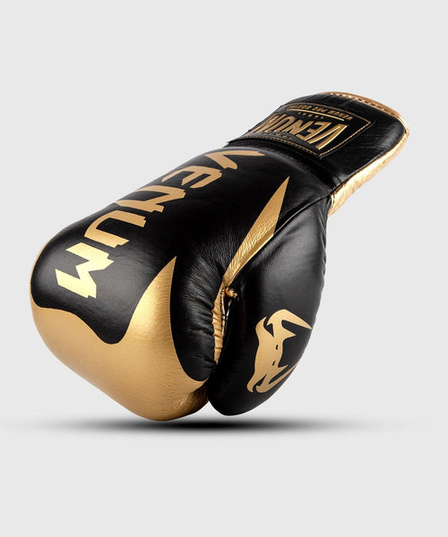 Venum Hammer Pro Boxing Gloves - With Laces - Black/Gold picture 1
