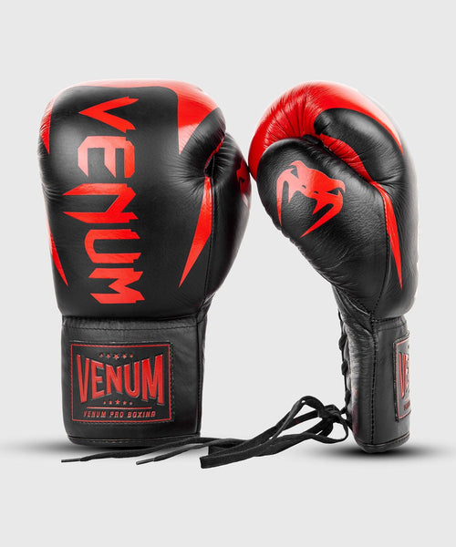 Venum Hammer Pro Boxing Gloves - With Laces - Black/Red picture 2