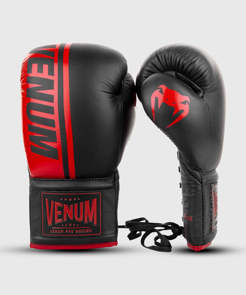 Venum Shield Pro Boxing Gloves - With Laces - Black/Red picture 2