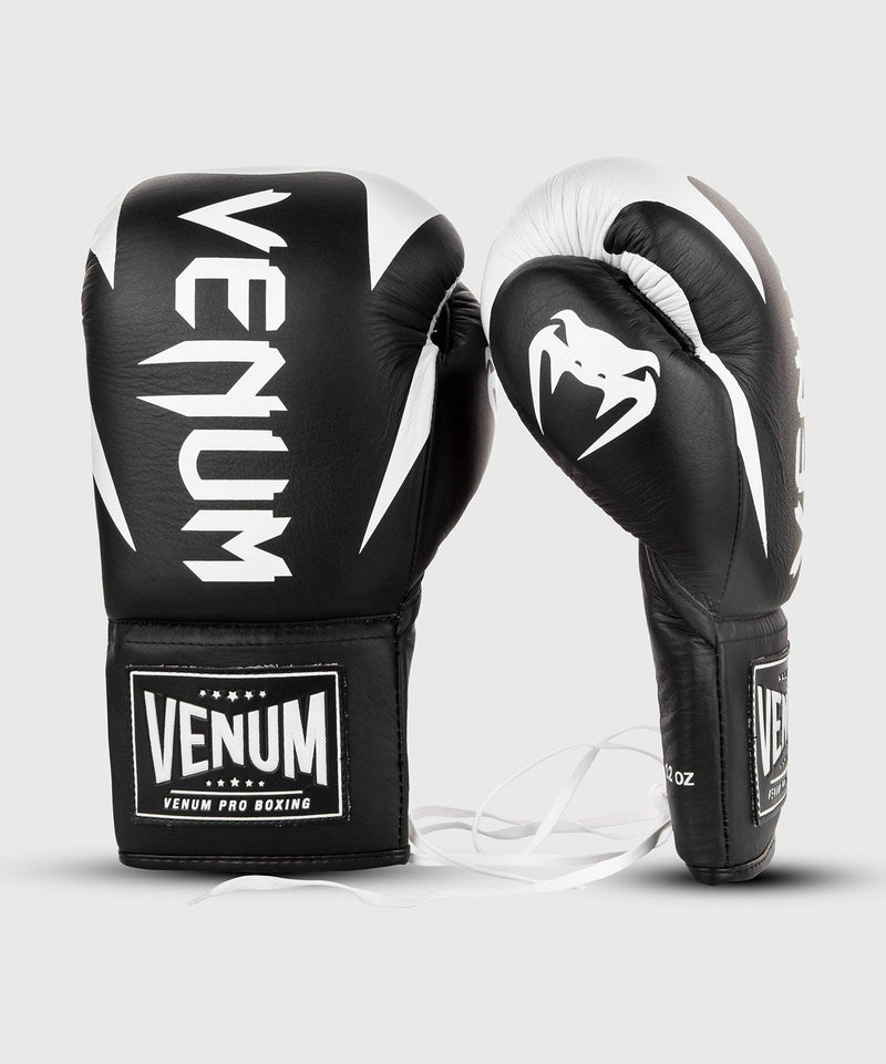 Venum Hammer Pro Boxing Gloves - With Laces - Black/White picture 2