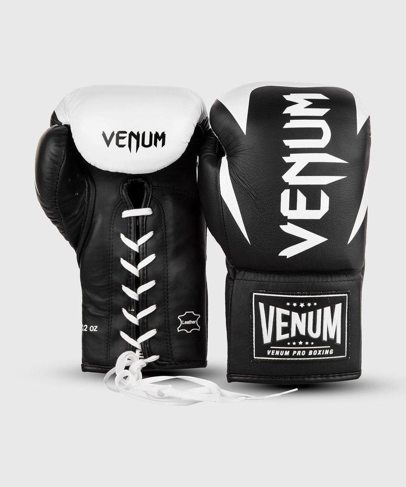 Venum Hammer Pro Boxing Gloves - With Laces - Black/White picture 6