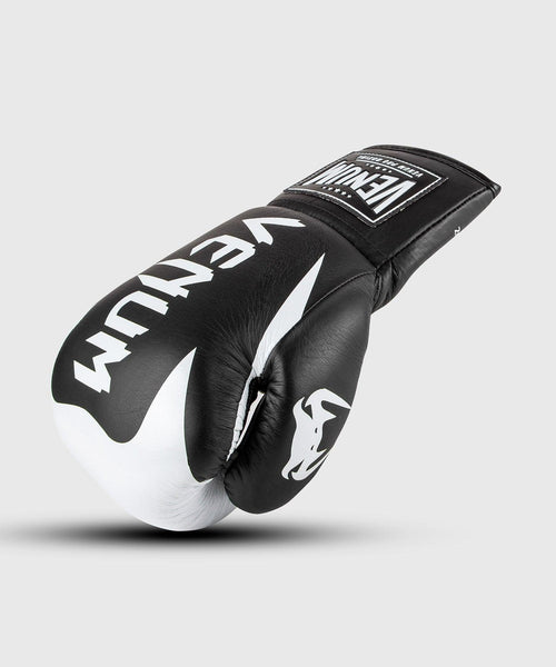 Venum Hammer Pro Boxing Gloves - With Laces - Black/White picture 1