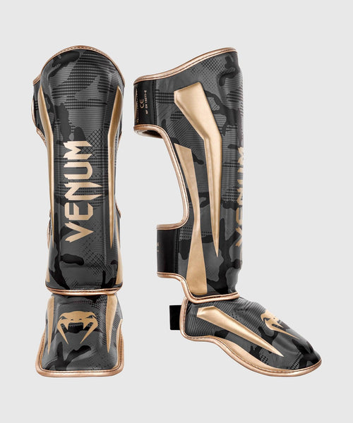 Venum Elite Shin Guards - Dark camo/Gold picture 1