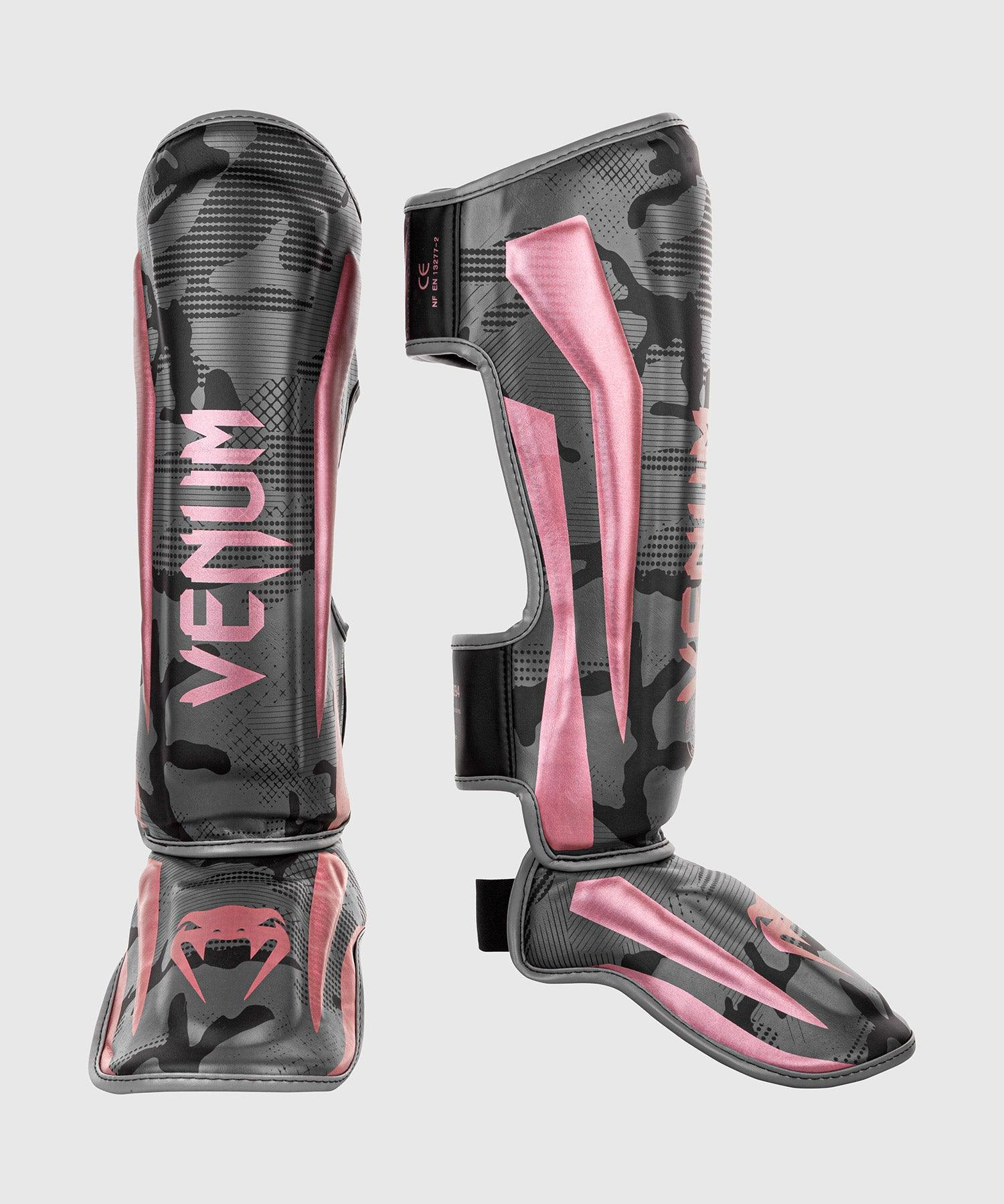 Venum Elite Shin Guards - Black/Pink Gold picture 1