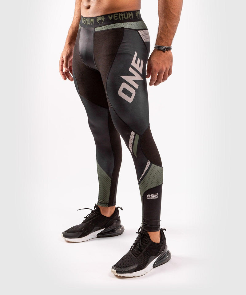 Venum ONE FC Impact Compresssion Tights - Black/Khaki - picture 3