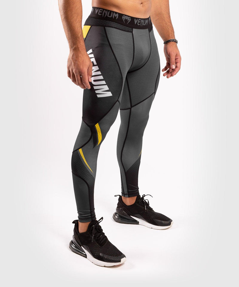 Venum ONE FC Impact Compresssion Tights - Grey/Yellow - picture 5