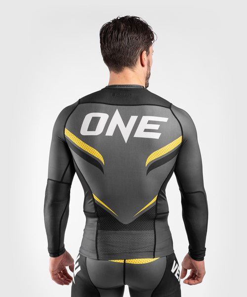 Venum ONE FC Impact Rashguard - long sleeves - Grey/Yellow - piecture 2