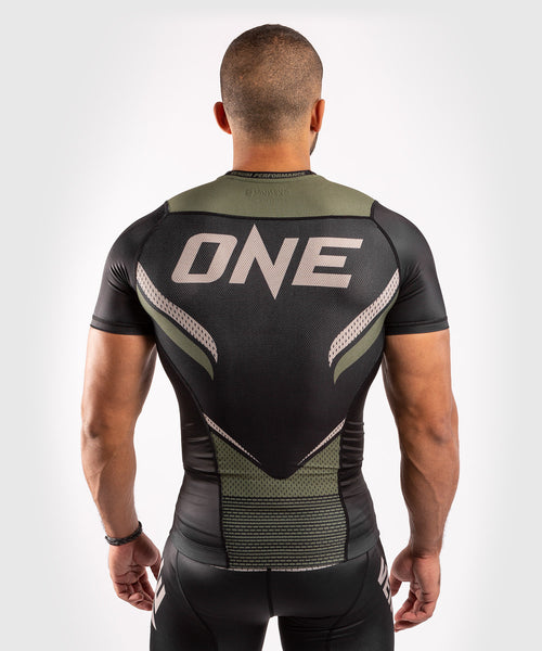Venum ONE FC Impact Rashguard - short sleeves - Black/Khaki - picture 2
