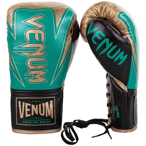 Venum Hammer Pro Boxing Gloves WBC Limited Edition - With Laces - Green Metallic/Gold picture 2