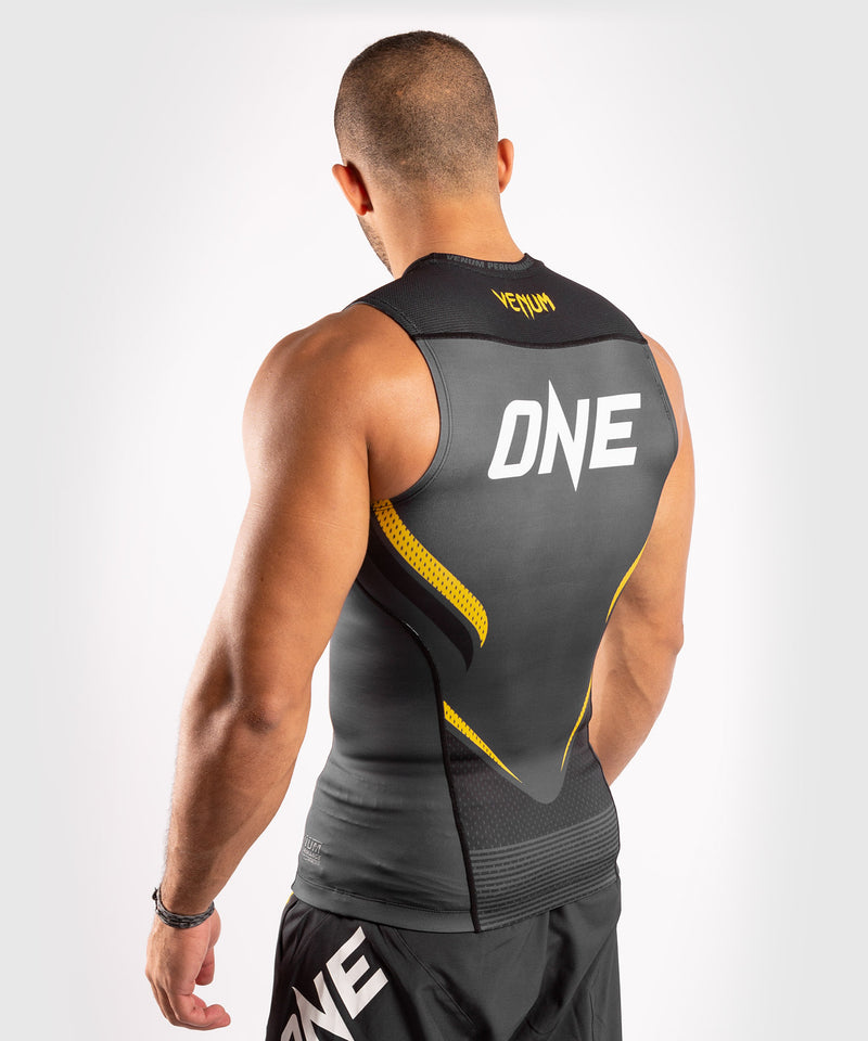 Venum ONE FC Impact Rashguard - sleeveless - Grey/Yellow - picture 4