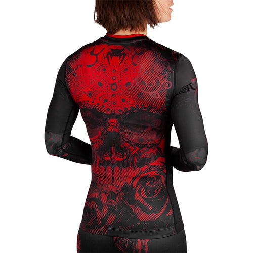 Venum Santa Muerte 3.0 Rashguard - Long Sleeves - For Women – Black/Red picture 3