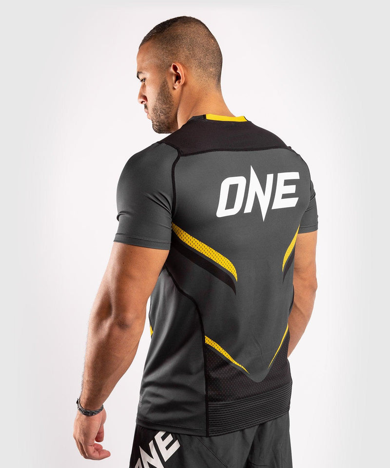 Venum ONE FC Impact Dry Tech T-Shirt - Grey/Yellow - picture 4