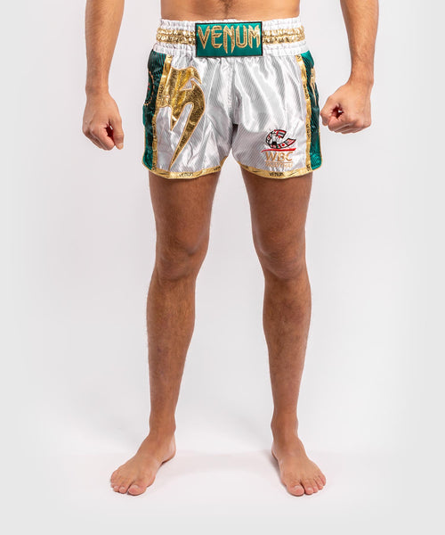 Venum WBC Muay Thai Shorts - White/Green - Picture 1
