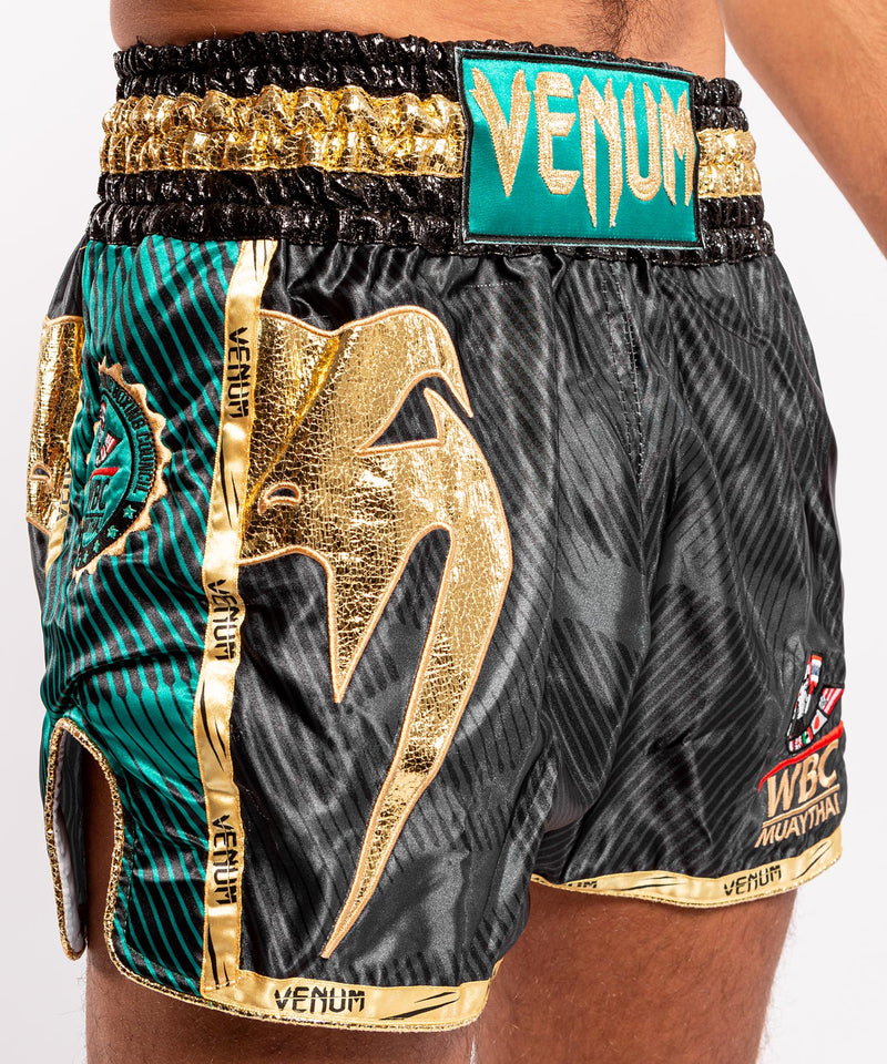 Venum WBC Muay Thai Shorts - Black/Green - Picture 6