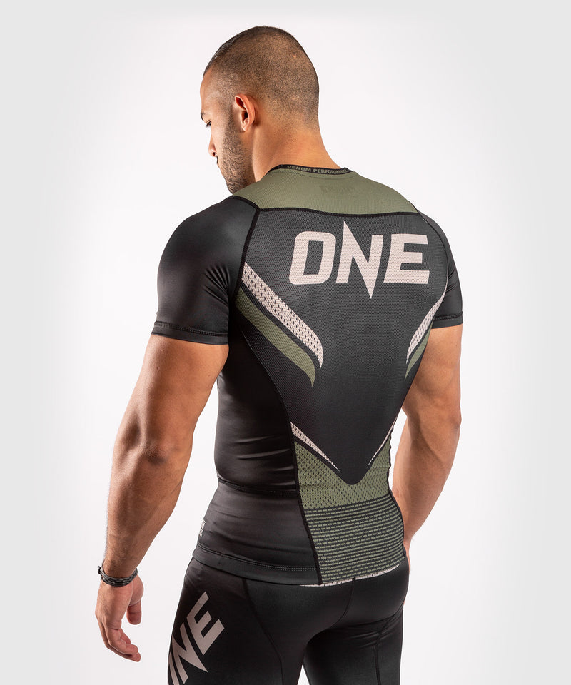 Venum ONE FC Impact Rashguard - short sleeves - Black/Khaki - picture 4