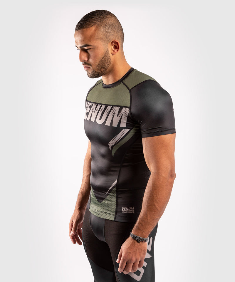 Venum ONE FC Impact Rashguard - short sleeves - Black/Khaki - picture 3