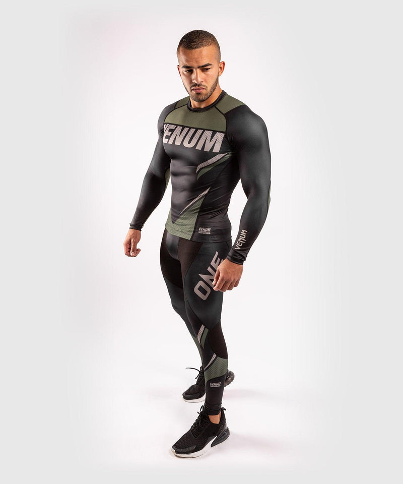 Venum ONE FC Impact Compresssion Tights - Black/Khaki - picture 7