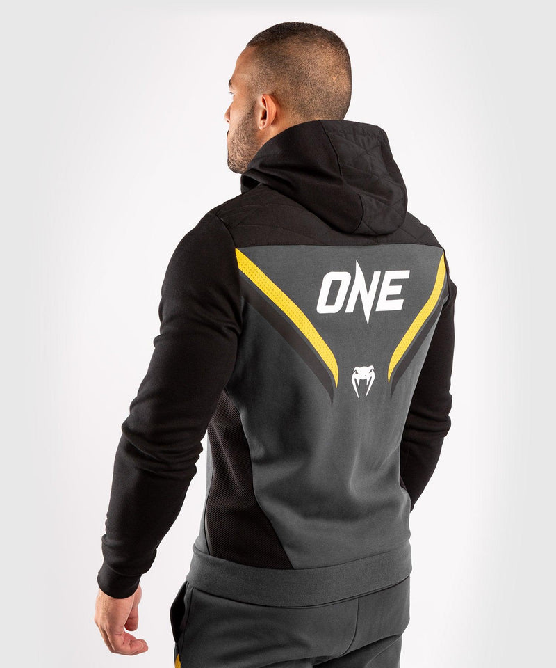 Venum ONE FC Impact Hoodie - Grey/Yellow - picture 4